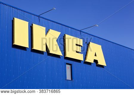 Saint Etienne, France - June 21, 2020: IKEA store in France. IKEA is a multinational group of companies that designs, sells ready-to-assemble furniture. IKEA owns and operates 353 stores in 46 countries
