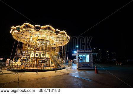 Bangkok, Thailand - June 10, 2019 : Carousel Horse In Asiatique The Riverfront In Night Time In Bang