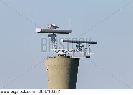 Coastal Surveillance Radar System. Two Marine Radars On Tower.