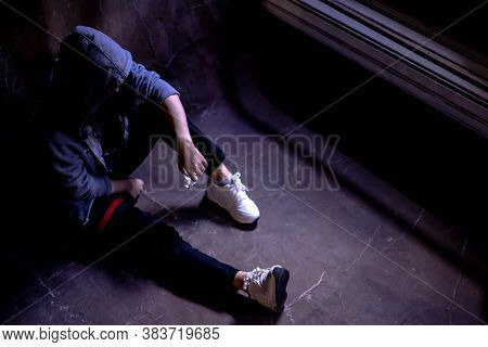 Drugged Woman Sitting On The Floor With Substance Abuse, Substance Abuse, Addiction, People And Drug