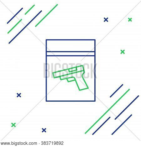 Line Evidence Bag And Pistol Or Gun Icon Isolated On White Background. Colorful Outline Concept. Vec