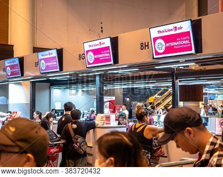 Don Muang Airport, Thailand - May 12, 2019: Check-in Counter Of Thai Lion Air At The Terminal(t1) Of