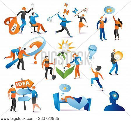 Creative Idea Characters In Business Set Of Vector Illustration. Businesswoman With Light Bulb. Crea