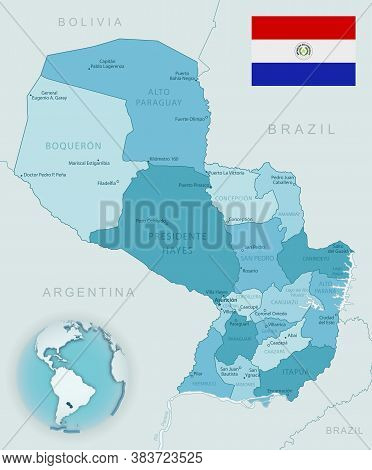 Blue-green Detailed Map Of Paraguay Administrative Divisions With Country Flag And Location On The G