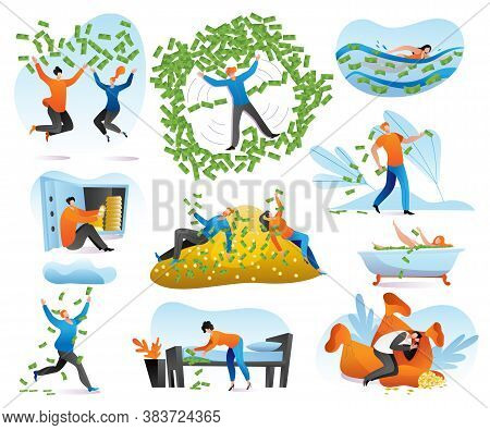 Rich People Characters, Wealth, Businessman With Money Set Of Cartoon Vector Illustrations. Man Bath