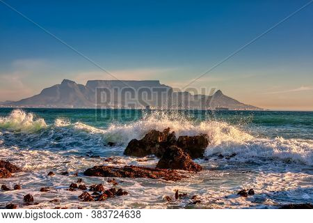 view of the Table Mountain and city of Cape Town in South Africa