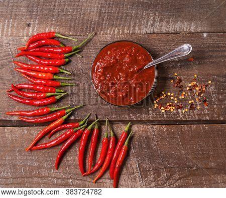 Hot Chilli Pepper Sauce Paste Harissa, Traditional Tunisia, Moroccan, Arabic Cuisine Adjika ,chili P