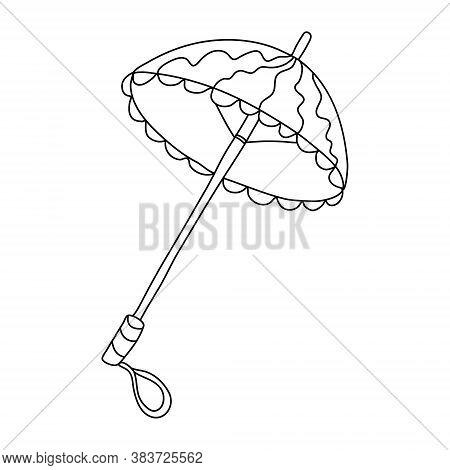 Open Vintage Umbrella In Doodle Style. Isolated Outline. Hand Drawn Vector Illustration In Black Ink