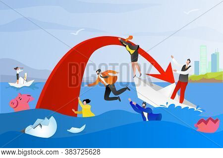 Business Problem, Work, Career And Financial Crisis Concept, Vector Illustration. Company And Busine