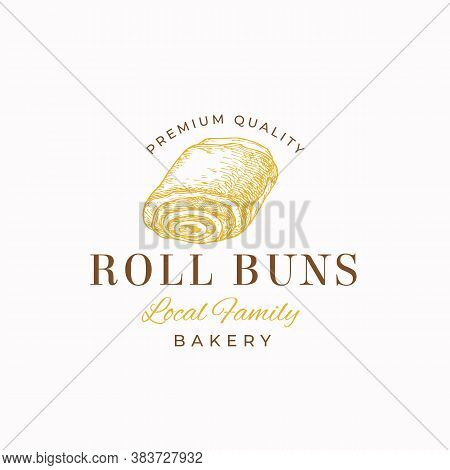 Premium Quality Confectionary Abstract Sign, Symbol Or Logo Template. Hand Drawn Roll Bun And Typogr