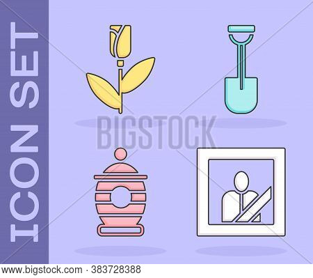 Set Mourning Photo Frame, Flower Rose, Funeral Urn And Shovel Icon. Vector