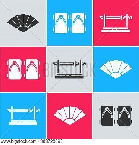 Set Paper Chinese Or Japanese Folding Fan, Geta Traditional Japanese Shoes And Traditional Japanese