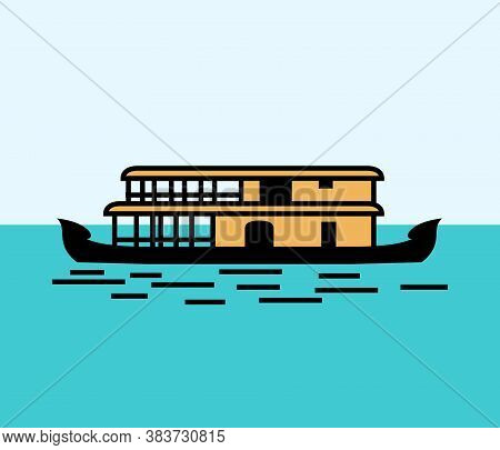 Kerala House Boat In Backwater Color Vector Design