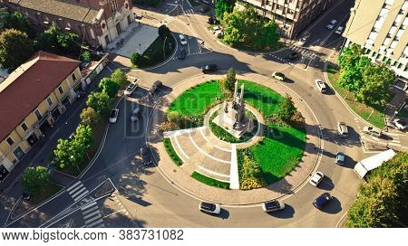 view on roundabout in downtown in gallarate city, lombardy, italy