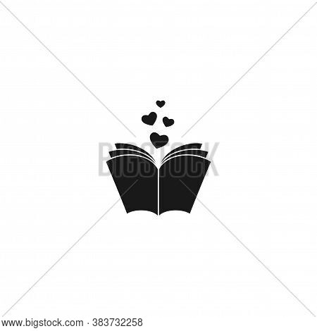 Open Book With Pages And Hearts Flying Out. Isolated On White Background. Bibliophile Flat Icon.