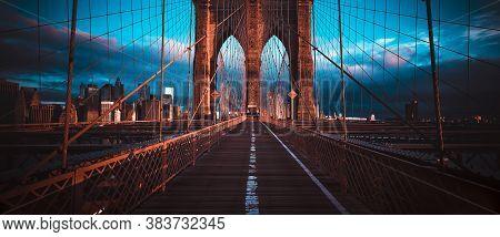 On The Brooklyn Bridge, Panoramic View, New York, Usa
