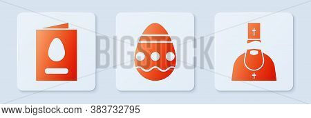 Set Easter Egg, Greeting Card With Happy Easter And Priest. White Square Button. Vector