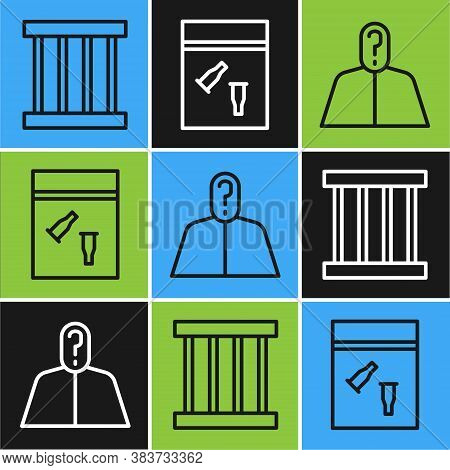Set Line Prison Window, Anonymous With Question Mark And Evidence Bag And Bullet Icon. Vector