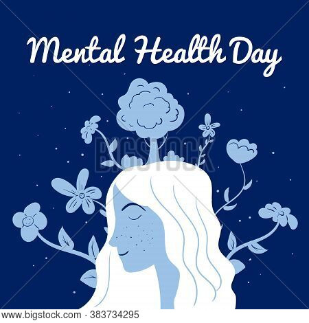 World Mental Health Day Poster Template. Yong Woman With Flowers Relaxed. Vector Illustration Isolat
