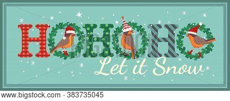 Hand Drawn Christmas Holiday Vector Design Element. Cute Robin Bird In Elf, Red Santa Hat. Fancy Let