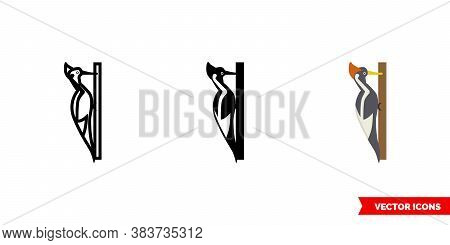 Woodpeckers Icon Of 3 Types Color, Black And White, Outline. Isolated Vector Sign Symbol.