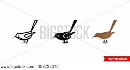 Wren Icon Of 3 Types Color, Black And White, Outline. Isolated Vector Sign Symbol.