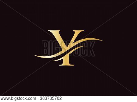 Water Wave Y Logo Vector. Swoosh Letter Y Logo Design For Business And Company Identity. Creative Y