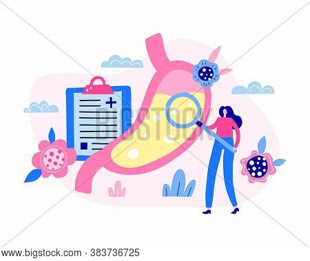 Tiny Woman Doctor Character Eximine Stomach Organ. Checkup Abdomen. Modern Flat Illustration Isolate