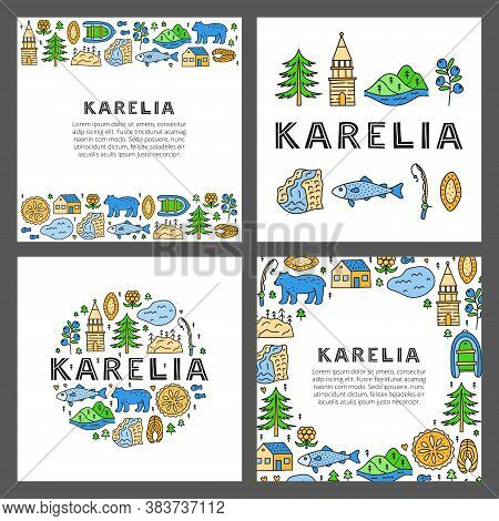 Set Of Cards With Lettering And Doodle Colored Karelia Icons Including Lake, Waterfall, Rocks, Bell