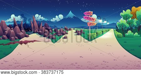 Concept Of Choice Between Hard, Easy And Medium Way. Vector Cartoon Landscape With Road Fork, Direct