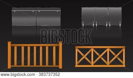 Glass Balustrade With Metal Banister And Wooden Fence For Balcony, Terrace Or Pool. Vector Realistic
