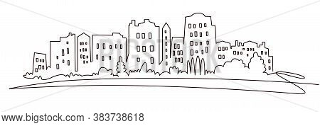 Modern Cityscape Continuous One Line Vector Drawing. Metropolis Architecture Panoramic Landscape. Ne