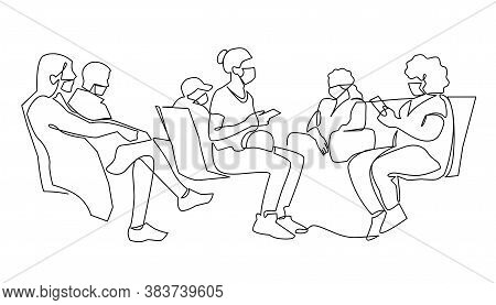 Continuous One Line Drawing Of Sick Passengers In Medical Protection Masks Waiting At Airport Termin