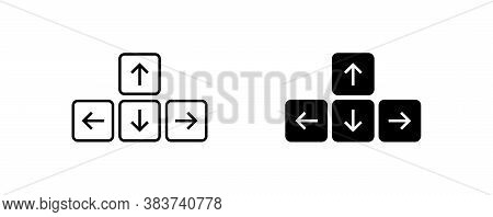 Keyboard Button Arrow Icon On White Background. Simple Minimal Flat Vector