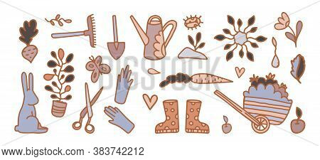 Vector Set Of Cartoon Garden Icons. Garden Shop Design, Flower Market, Seeds And Seedling Design Sti