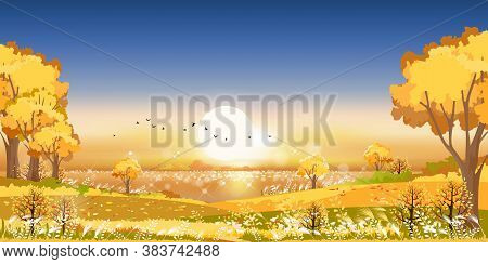 Autumn Landscape Wonderland By The Lake In Morning, Mid Autumn Natural In Orange Foliage, Fall Seaso