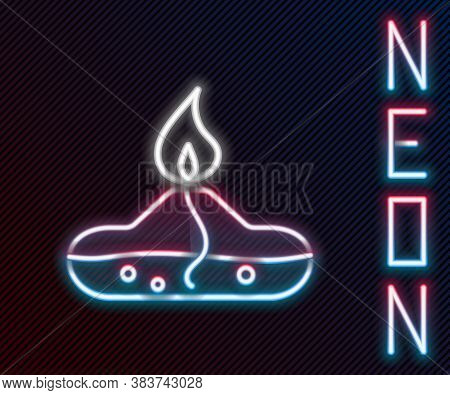 Glowing Neon Line Alcohol Or Spirit Burner Icon Isolated On Black Background. Chemical Equipment. Co