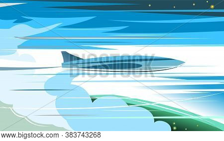 Airplane Takes Off Above The Clouds. Vector Illustration Background. The Plane Rises Into The Strato