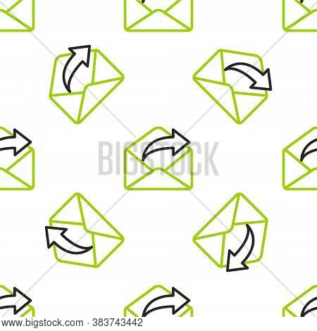 Line Outgoing Mail Icon Isolated Seamless Pattern On White Background. Envelope Symbol. Outgoing Mes