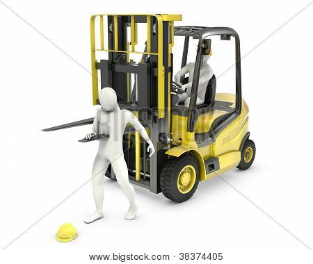 Abstract white man was injured by lift truck fork due to safety violation isolated on white background poster