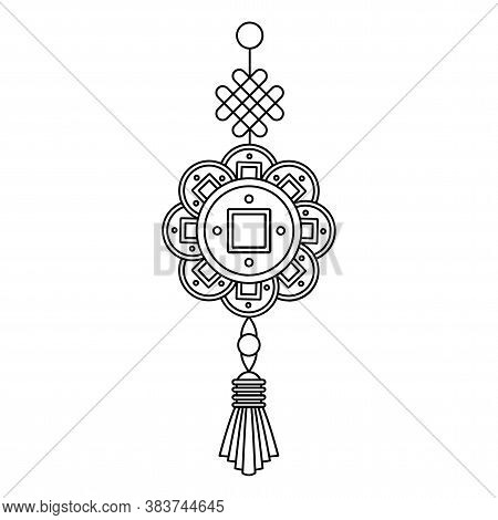 Knot Of Happiness. Chinese New Year Greeting Card Decoration. Paper Lanterns And Couplets On The Doo