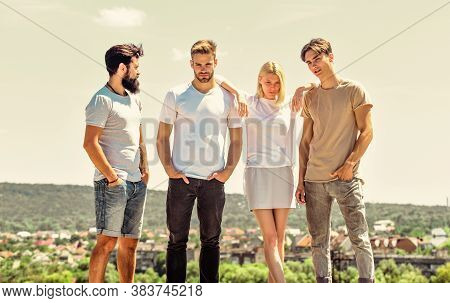Represent Your Self. Spending Time With Friends. Summer Vacation. Group Of Four People. Freedom And
