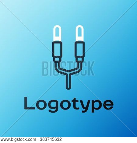 Line Audio Jack Icon Isolated On Blue Background. Audio Cable For Connection Sound Equipment. Plug W