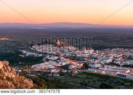 Castelo De Vide In Alentejo, Portugal From Serra De Sao Mamede Mountains At Sunset