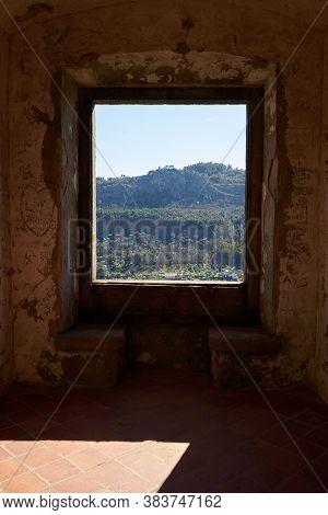 View Of Castelo De Video Serra De Sao Mamede Mountains Landscape Through The Window Of The Castle, I