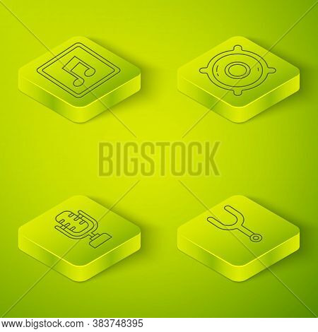 Set Isometric Stereo Speaker, Microphone, Musical Tuning Fork And Music Note, Tone Icon. Vector