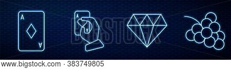 Set Line Diamond, Playing Card With Diamonds, Hand Holding Playing Cards And Casino Slot Machine Wit