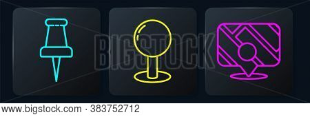 Set Line Push Pin, Infographic Of City Map Navigation And Push Pin. Black Square Button. Vector