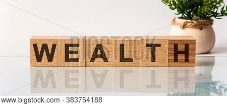 Wealth Message Word On A Wooden Desk On Cube Blocks With A Flower On Background. Blocks With The Wor