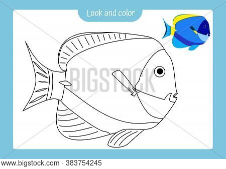 Look And Color. Coloring Page Outline Of A Tropical Fish With Colored Example. Vector Illustration,